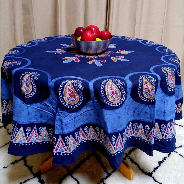 Multi Batik Mandala Floral Paisley Round Tablecloth Rectangular Square Cotton Blue