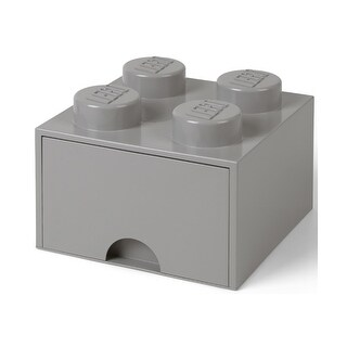 LEGO Brick Drawer, 4 Knobs, 1 Drawer, Stackable Storage Box, Stone Grey - Multi