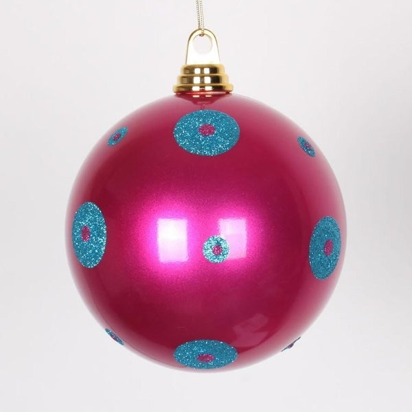 """Candy Pink w/ Turquoise Blue Glitter Polka Dots Christmas Ball Ornament 6""""(150mm)"""