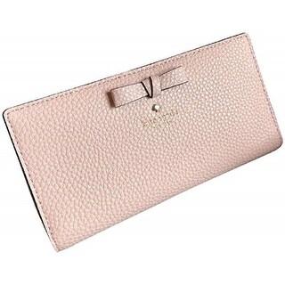 Kate Spade New York Pershing Street Stacy Pebbled Leather Wallet WLRU5064, Pink - khaki vanilla