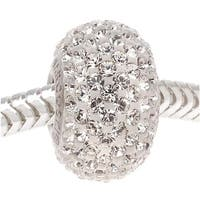 Swarovski Crystal, 80101 BeCharmed Pave European Style Lg Hole Bead 14mm, 1 Pc, Crystal