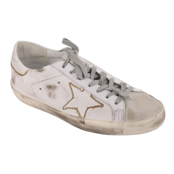 Shop Golden Goose Womens White Yarn Woven Superstar Sneakers - Free ... d55af02ad9ea