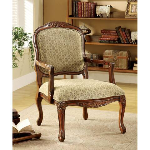 Quintus Beige with Antique Oak Finish Accent Chair