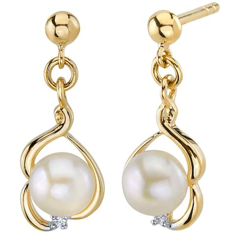 14K Yellow Gold Freshwater Pearl Round Button Shape Drop Earrings