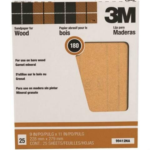 "3M 99412 Pro-Pak Garnet Sand Paper, 180 Grit, 9"" x 11"", 25-Pack"