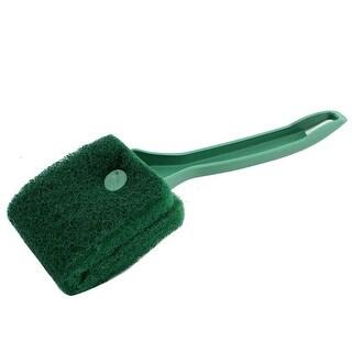 Aquarium Plastic Handle Dual Side Algae Sponge Clean Brush Cleaner Green 22cm