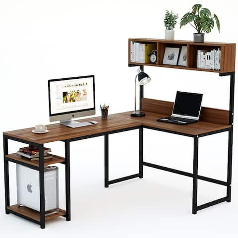 L-Shaped Desk with Hutch, 68 Inches Corner Computer Desk Gaming Table Workstation with Storage Bookshelf