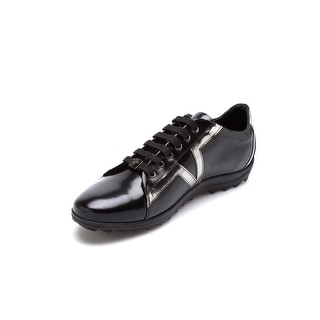 Versace Collections Men's Leather Rubber Low Top Sneaker Shoes Black Dark Silver