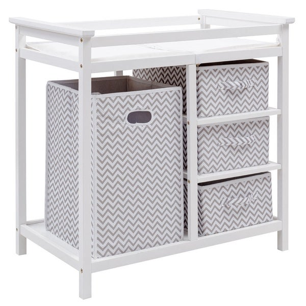 Costway Gray Infant Baby Changing Table w/3 Basket Hamper Diaper Storage Nursery