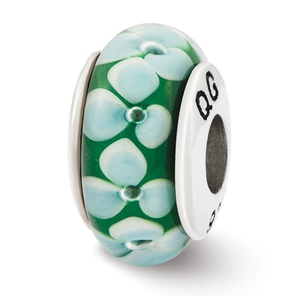 Sterling Silver Reflections Teal Flowers Hand Blown Glass Bead (4mm Diameter Hole)