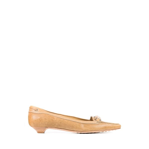 d564b1b1 Shop Car Shoe By Prada Women's Tan Leather Braided Pointed Toe ...