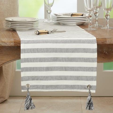 Striped Table Runner With Tassel Design