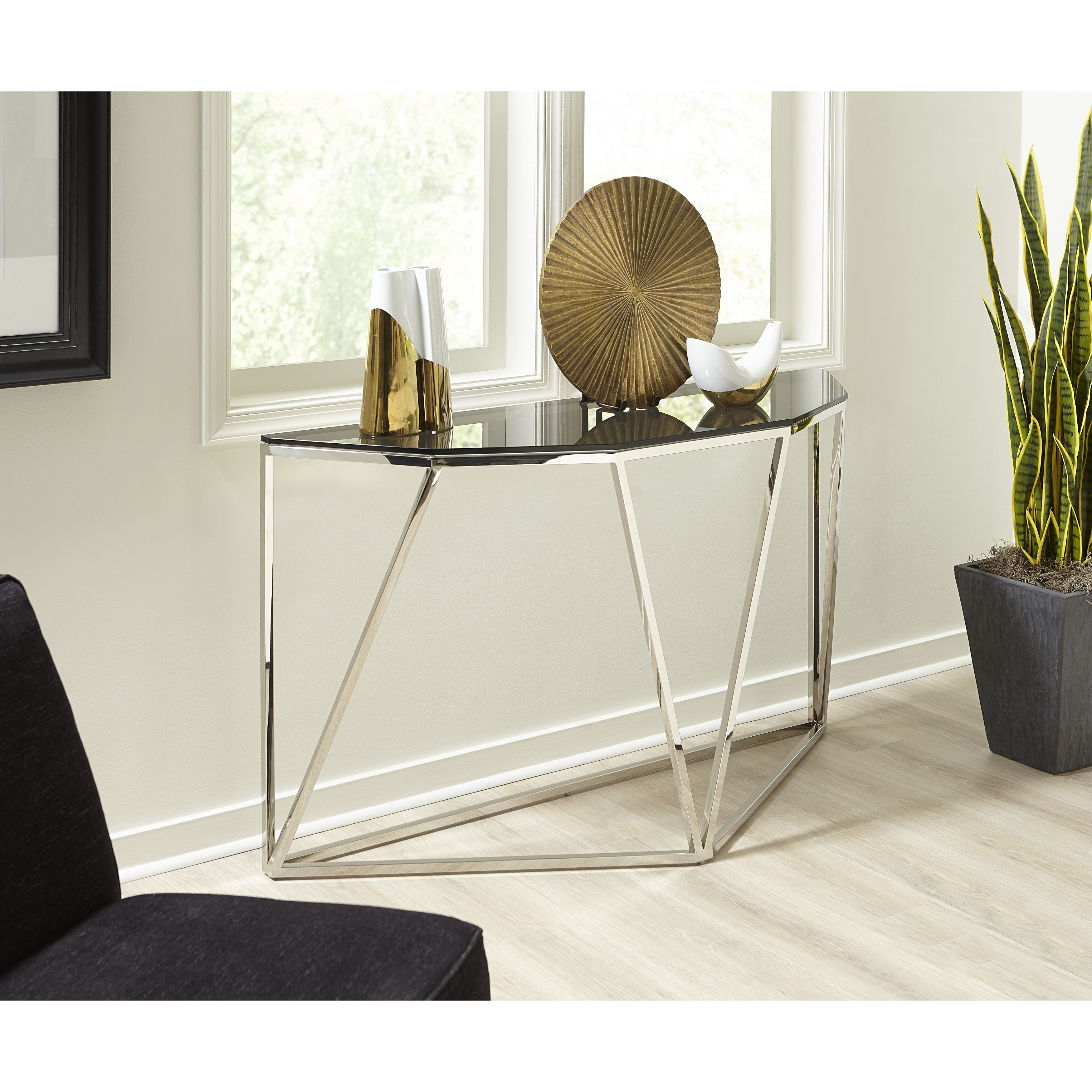 Aria Smoked Glass And Polished Stainless Steel Console Table Overstock 31987396