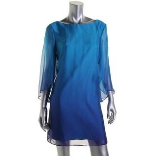 Tahari ASL Womens Petites Kristy Organza Dip Dye Party Dress - 2p