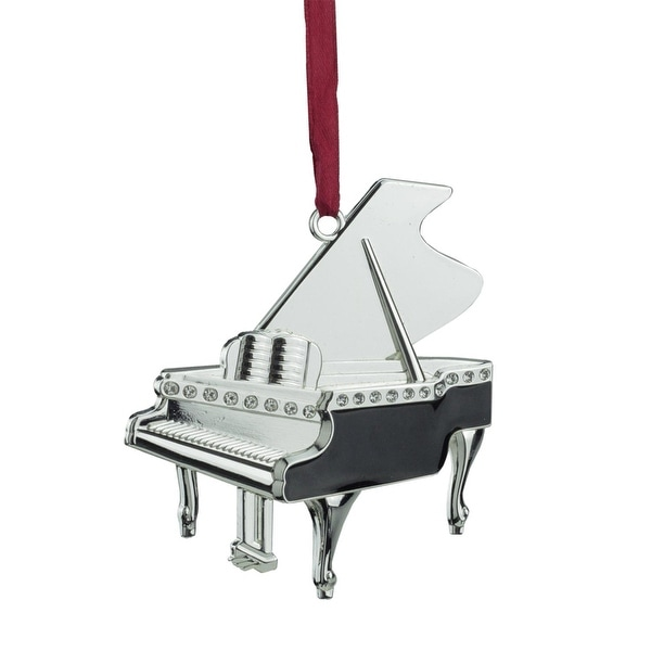 """3.5"""" Regal Silver-Plated Grand Piano Christmas Tree Ornament with European Crystals - silver"""