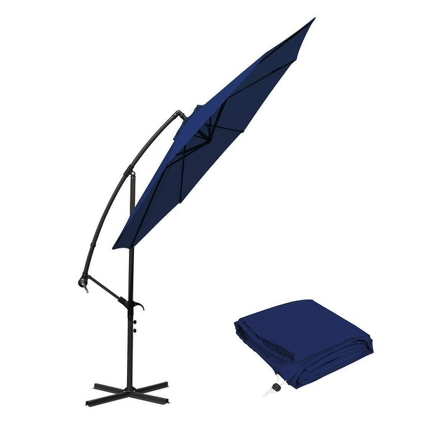 10 Ft Offset Cantilever Patio Umbrella Outdoor Market Hanging Umbrellas  U0026amp; Crank With Cross Base