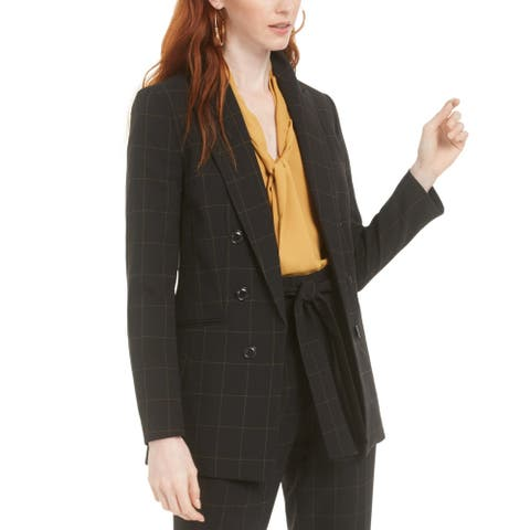 BAR III Women's Jacket Black Size 8 Windowpane Print Notch Collar