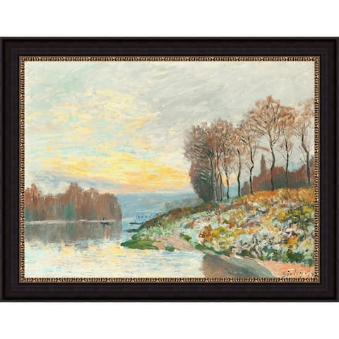 """Dusk by Alfred Sisley Giclee Print Oil Painting Black Frame Size 16"""" x 13"""""""