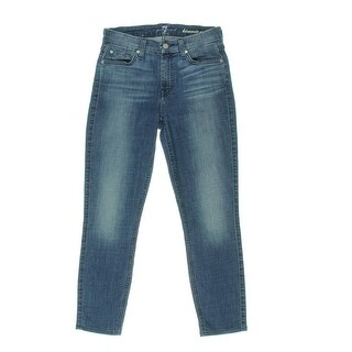 7 For All Mankind Womens Kimmie Medium Wash Mid-Rise Cropped Jeans