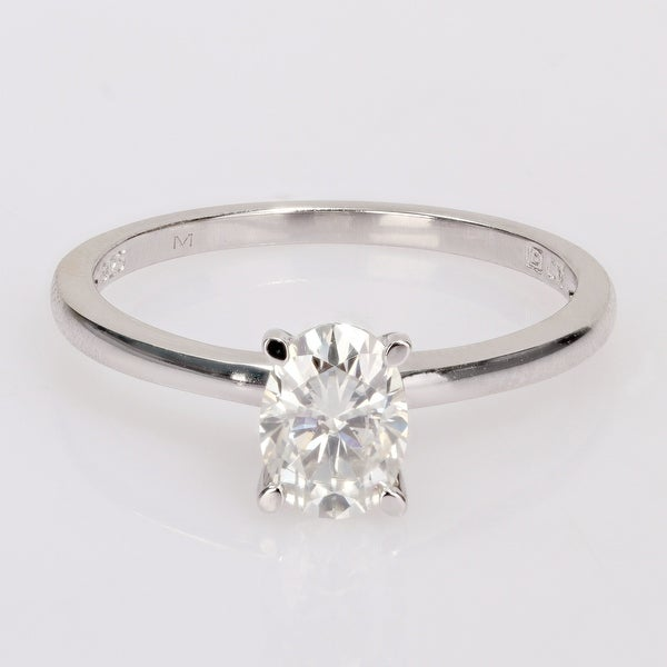 Miadora Sterling Silver 1ct TGW Oval-cut Created Moissanite Solitaire Engagement Ring. Opens flyout.