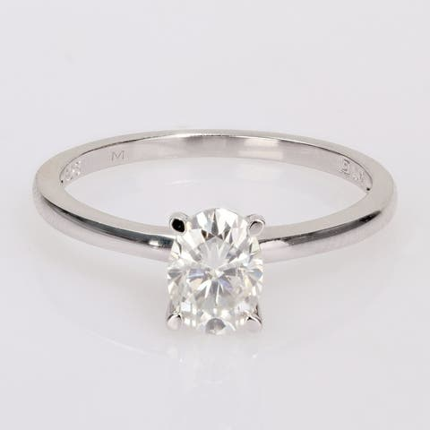 Miadora Sterling Silver 1ct TGW Oval-cut Created Moissanite Solitaire Engagement Ring