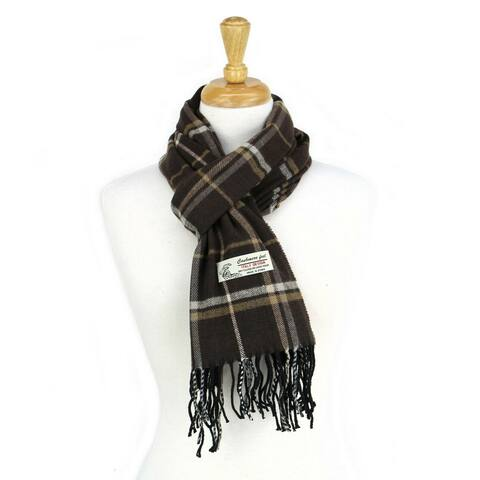 Super Soft Luxurious Classic Check Cashmere Feel Winter Scarf - Brown
