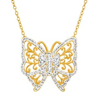 Crystaluxe Butterfly Necklace with Swarovski Crystals in 18K Gold-Plated Sterling Silver