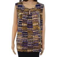Kasper Women's Large Striped Pleated Neck Blouse