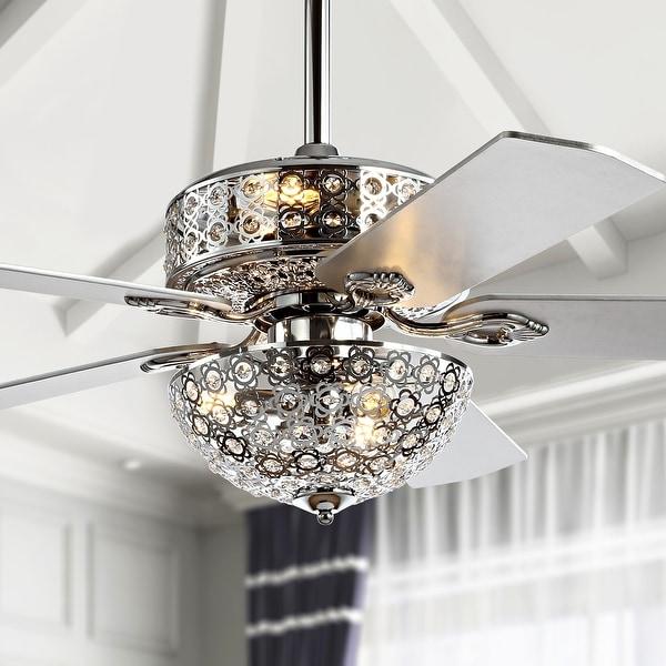 """Zara 52"""" 6-Light Metal/Wood LED Ceiling Fan, Chrome by JONATHAN Y. Opens flyout."""
