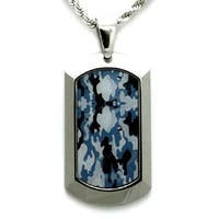 Tungsten Ocean Camo Dog Tag Pendant - 24 inches