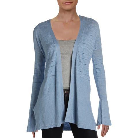 Design History Womens Sweater Open Stitch Cardigan - Boho Blue Heather