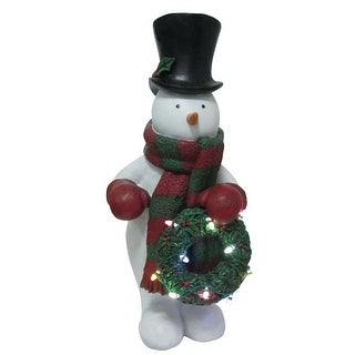 "Design House 319699 24"" Tall Snowman Lawn Decoration with Light-Up LED Wreath and Timer - N/A - N/A"