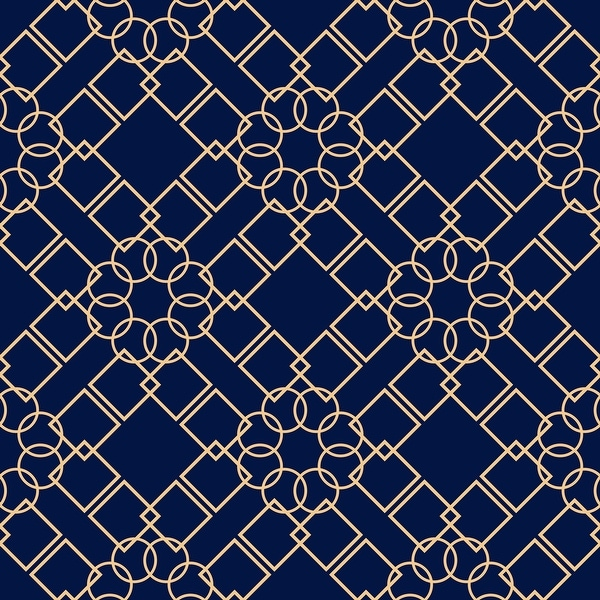 Navy Blue Geometric Removable Wallpaper - 10'ft H x 24''inch W. Opens flyout.