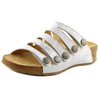 Haflinger Payton Women Open Toe Leather Silver Slides Sandal