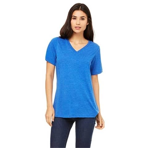Bella 6405 Womens Relaxed Jersey Short Sleeve V-Neck Tee - True Royal Triblend 2XL