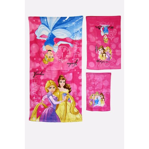 DISNEY KIDS BATHROOM BATH TOWEL 3PC SET CARTOONS CHARACTERS Girls PRINCESS