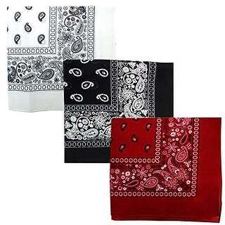 Paisley 3 piece Assorted Cotton Bandanas (White / Black / Cardinal)