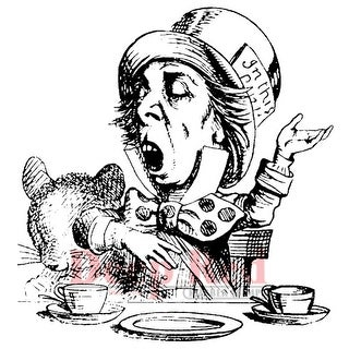 """Deep Red Cling Stamp 3""""X3.2""""-Mad Hatter Tea Party"""
