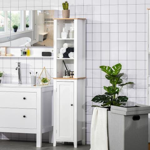 "Kleankin Bathroom Storage Cabinet with 3 Tier Adjustable Shelf Storage Linen Tower Enclosed Cabinet, White - 13.75""x11.75""x67"""