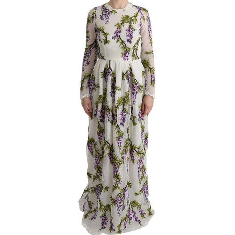 Dolce & Gabbana White Floral Embroidered Maxi Women's Dress - it40-s