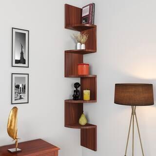 NOVA FURNITURE 5 Tiers Floating Wall Mount Corner Shelf, Home Decor Display Shelves