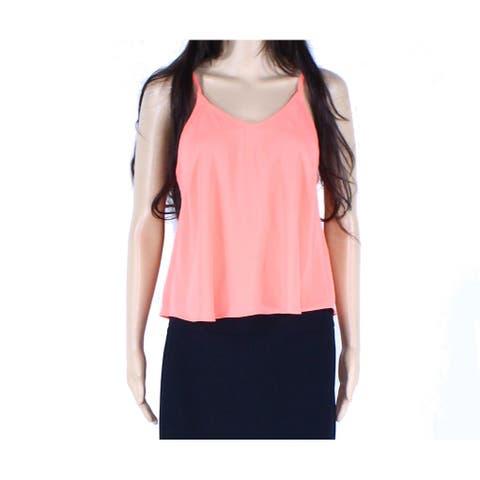 LUSH Women's Top True Coral Orange Size XS Cami Semi Sheer V-Neck