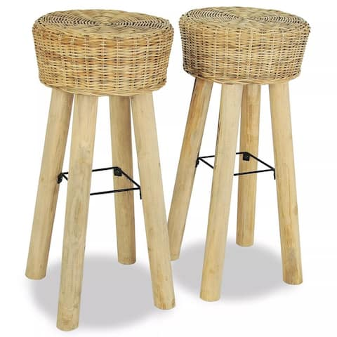 vidaXL Bar Stools 2 pcs Natural Rattan