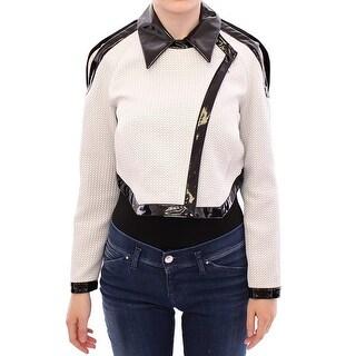 Koonhor Koonhor White Black Zipper Closure Cropped Jacket