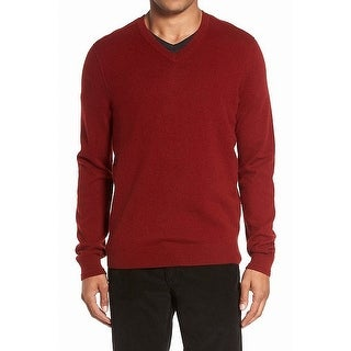 Vince Orange Mens Size Medium M V-Neck Cashmere Knit Sweater