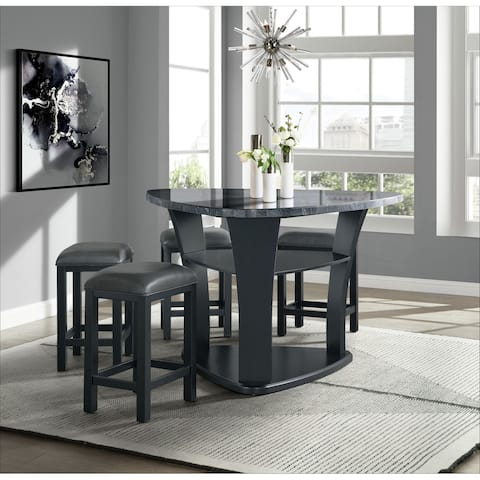 Picket House Furnishings Colton 5PC Counter Height Dining Set in Grey - Table and Four Stools