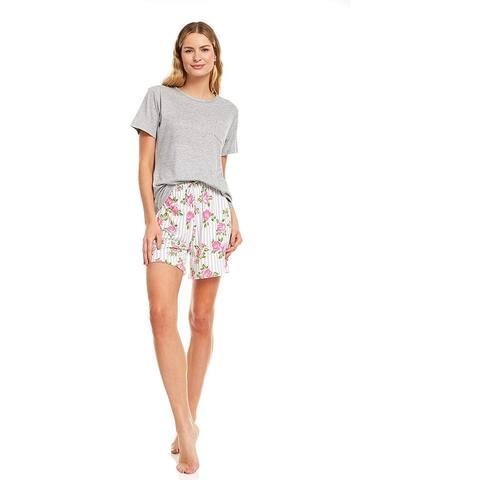Woman's Double Brushed Sleepwear Nightwear Lounge Pajama Crew Neck Short Sleeve Top and Shorts Set