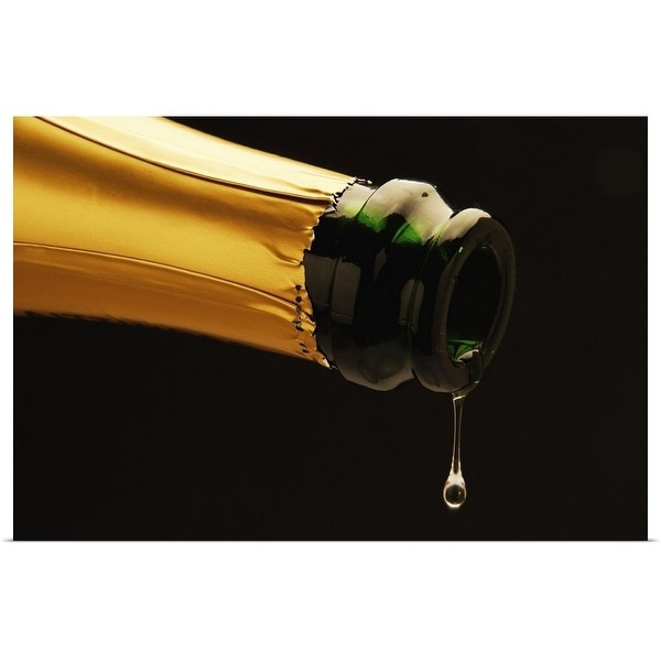 """""""Champagne drop dripping from bottle"""" Poster Print"""