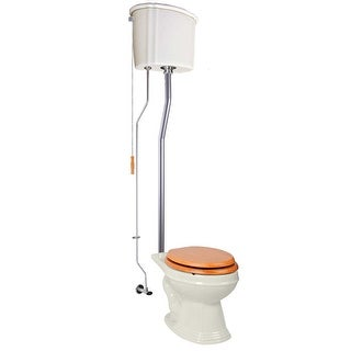 Renovator's Supply High Tank Toilets Bone Ceramic Tank Elongated High Tank Toilet