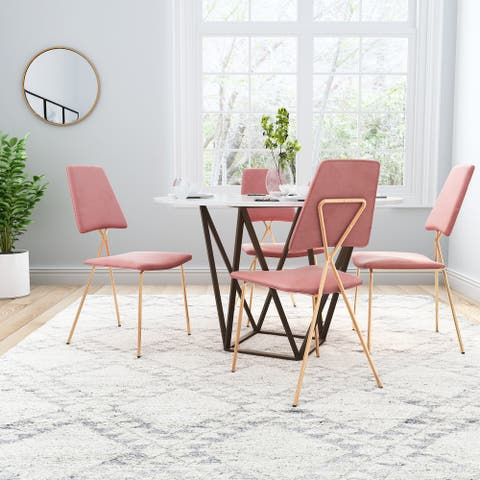 Chloe Dining Chair (Set of 2) Pink & Gold